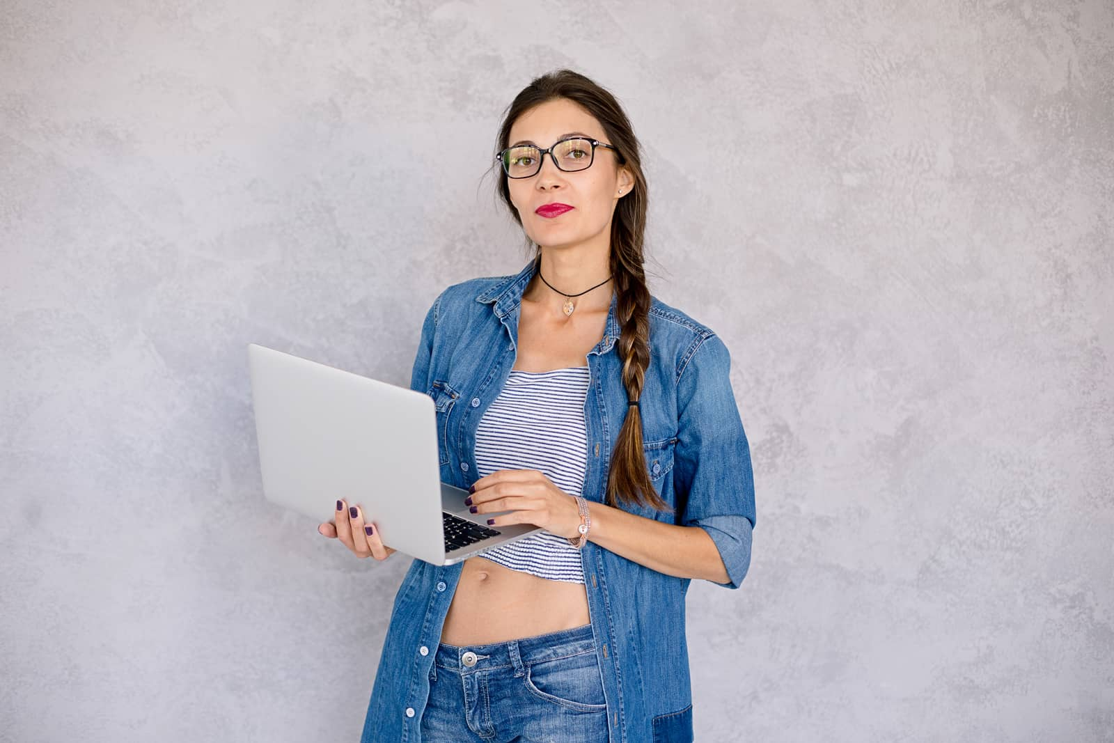 beautiful girl with laptop The Plus Addons for Elementor