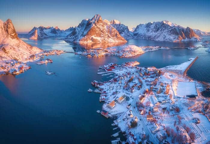 aerial view of reine at sunrise in winter in S9ACL35 The Plus Addons for Elementor