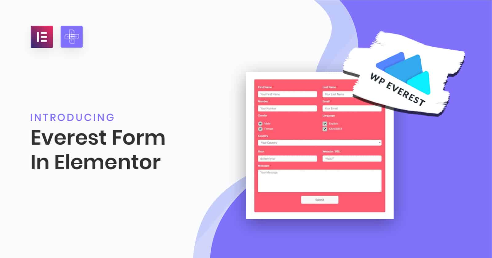 Everest Forms widget for elementor | The Plus Addons for Elementor