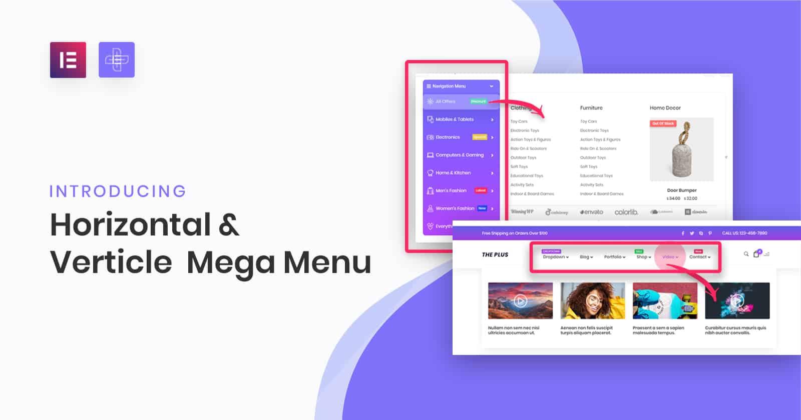 Horizontal Mega Menu widget for elementor | The Plus Addons for Elementor